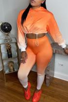 Orange Fashion Casual Gradual Change Print Basic Hooded Collar Long Sleeve Two Pieces