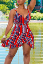 Red Casual Striped Print Bandage Split Joint Flounce Asymmetrical V Neck A Line Dresses