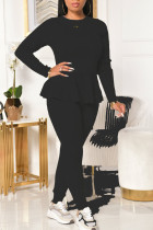 Black Casual Solid Bandage Split Joint Flounce O Neck Long Sleeve Two Pieces