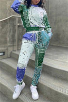 Green Fashion Casual Print Basic O Neck Long Sleeve Two Pieces