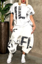 White Casual Print Split Joint O Neck Short Sleeve Two Pieces