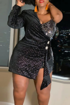 Black Sexy Solid Split Joint One Shoulder Pencil Skirt Plus Size Dresses