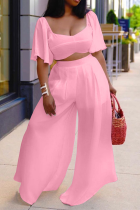Pink Casual Solid Split Joint Square Collar Pencil Skirt Plus Size Two Pieces