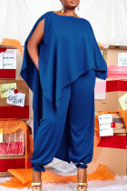Blue Fashion Casual Solid Asymmetrical O Neck Plus Size Two Pieces