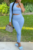 Blue Fashion Sexy Solid Hollowed Out O Neck Long Sleeve Two Pieces
