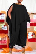 Black Fashion Casual Solid Asymmetrical O Neck Plus Size Two Pieces