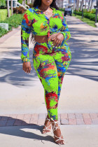 Fluorescent Green Casual Print Split Joint Buckle Knotted Turndown Collar Long Sleeve Two Pieces