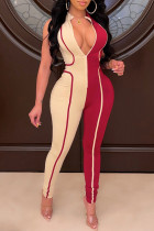 Red Sexy Casual Patchwork Basic Zipper Collar Skinny Jumpsuits