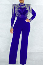 Blue Fashion Sexy Patchwork Tie Dye See-through Half A Turtleneck Regular Jumpsuits