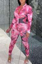 Pink Sexy Print Split Joint Zipper Collar Skinny Jumpsuits