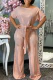Pink Fashion street Solid Short Sleeve one shoulder collar Jumpsuits
