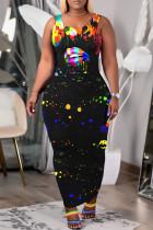 Black Fashion Casual Print U Neck Vests Long Dress
