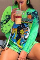 Green Street Print Tie Dye Split Joint O Neck Tops