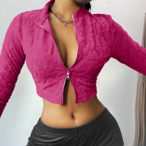 Rose Red Sexy Solid Split Joint Turndown Collar Tops