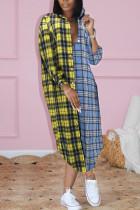 Yellow Blue Casual Plaid Print Split Joint Buckle Turndown Collar Shirt Dress Dresses