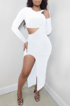White Fashion Sexy Solid Slit O Neck Long Sleeve Two Pieces