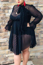 Black Fashion adult Ma'am OL O Neck Patchwork Mesh perspective Stitching Plus Size