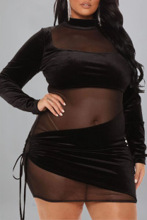 Black Sexy Solid Split Joint Frenulum See-through O Neck Pencil Skirt Plus Size Dresses