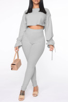 Grey Fashion Casual Solid Bandage O Neck Long Sleeve Two Pieces