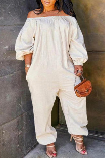 White Fashion Casual Solid Basic Off the Shoulder Plus Size Jumpsuits (No Pocket)