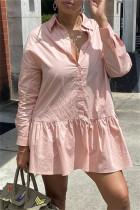 Pink Fashion Casual Solid Basic Turndown Collar Long Sleeve Shirt Dress