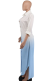 Blue Casual Gradual Change Split Joint Turndown Collar Shirt Dress Dresses