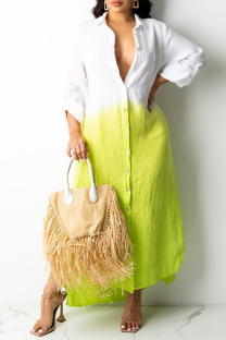 Green Casual Gradual Change Split Joint Turndown Collar Shirt Dress Dresses