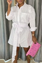 White Casual Solid Pocket With Belt Turndown Collar A Line Dresses