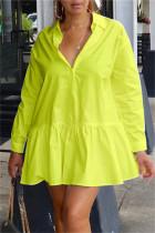 Light Yellow Fashion Casual Solid Basic Turndown Collar Long Sleeve Shirt Dress