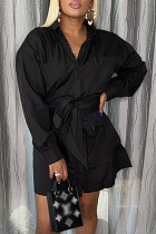 Black Casual Solid Pocket With Belt Turndown Collar A Line Dresses