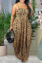 Leopard Print Sexy Leopard Split Joint Spaghetti Strap Cake Skirt Dresses
