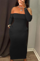 Black Fashion Sexy Solid Backless Strapless Long Sleeve Dresses