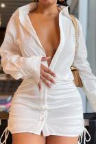 White Sexy Print Solid Split Joint Turndown Collar Shirt Dress Dresses