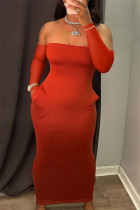 Red Fashion Sexy Solid Backless Strapless Long Sleeve Dresses