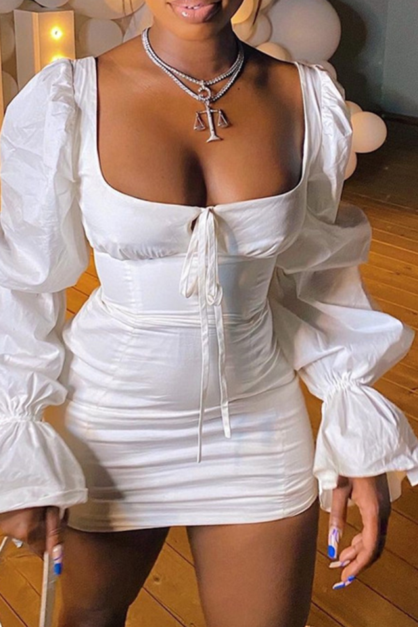 White Sexy Solid Flounce Square Collar Pencil Skirt Dresses