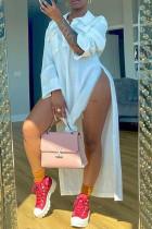 White Fashion Casual Solid Slit Turndown Collar Shirt Dress Dresses