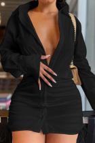 Black Sexy Print Solid Split Joint Turndown Collar Shirt Dress Dresses