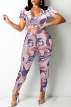 Pink Fashion Casual Print Basic U Neck Short Sleeve Two Pieces