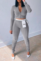 Grey Sportswear Solid Split Joint Zipper Collar Long Sleeve Two Pieces (Without Belt)