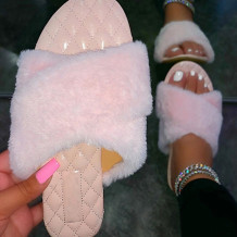 Pink Fashion Casual Split Joint Solid Color Keep Warm Comfortable Slippers
