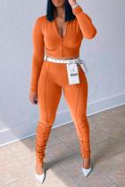 Orange Sportswear Solid Split Joint Zipper Collar Long Sleeve Two Pieces (Without Belt)
