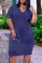 Dark Blue Fashion Casual Solid Basic V Neck Short Sleeve Dress