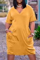 Yellow Fashion Casual Solid Basic V Neck Short Sleeve Dress