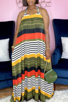 Orange Green Sexy Print Backless Halter A Line Dresses