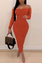 Tangerine Red Sexy Solid Split Joint Fold Off the Shoulder One Step Skirt Dresses