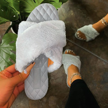 Grey Fashion Casual Split Joint Solid Color Keep Warm Comfortable Slippers