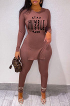 Brown Casual Print Split Joint Slit O Neck Long Sleeve Two Pieces
