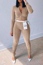 Khaki Sportswear Solid Split Joint Zipper Collar Long Sleeve Two Pieces (Without Belt)