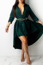 Green Fashion Casual Solid Asymmetrical Turndown Collar Shirt Dress Dresses