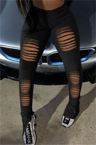 Black Fashion Casual Solid Ripped Slit Skinny High Waist Pencil Trousers
